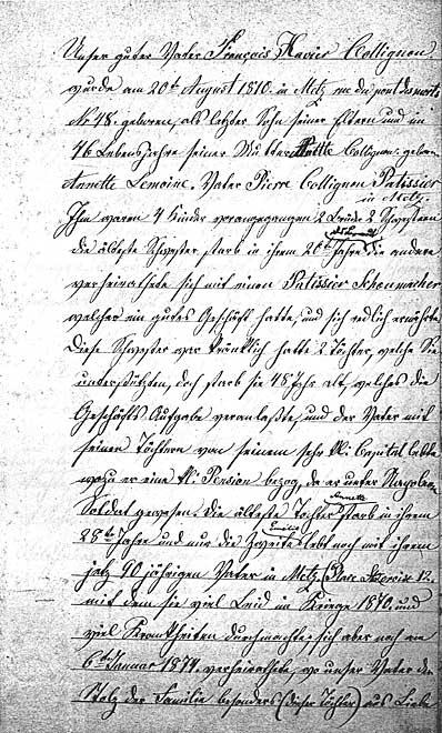 Erste Seite des Lebenslaufs von François Collignon, handschriftlich notiert von seiner Frau Emélie Wagener (Scan einer Kopie) - Für den ganzen Lebenslauf als pdf hier klicken!